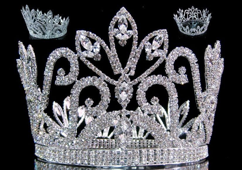 Mariola Rhinestone Beauty Full Round Silver Pageant Crown, CrownDesigners