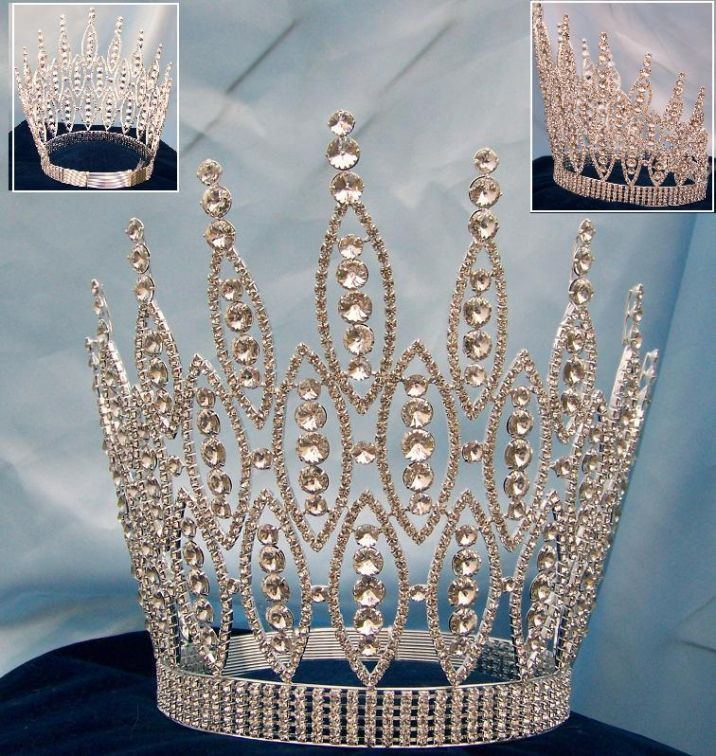 Queen of The Seven Seas RHINESTONE BEAUTY PAGEANT RHINESTONE CROWN TIARA 9 inches tall, CrownDesigners