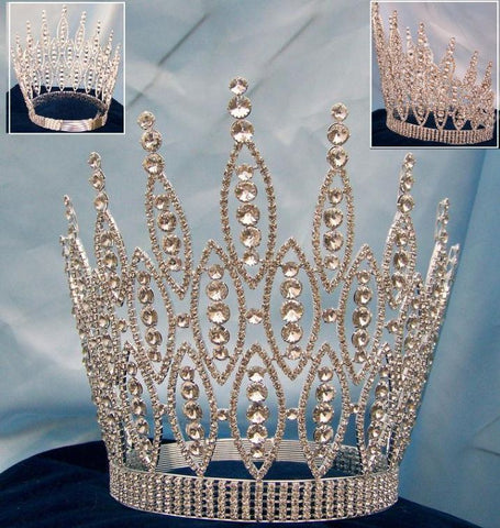 Queen of The Seven Seas RHINESTONE BEAUTY PAGEANT RHINESTONE CROWN TIARA 9 inches tall - CrownDesigners