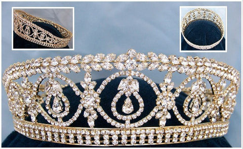 Duchess Royal Crown Gold FULL RHINESTONE Tiara Windsor, CrownDesigners