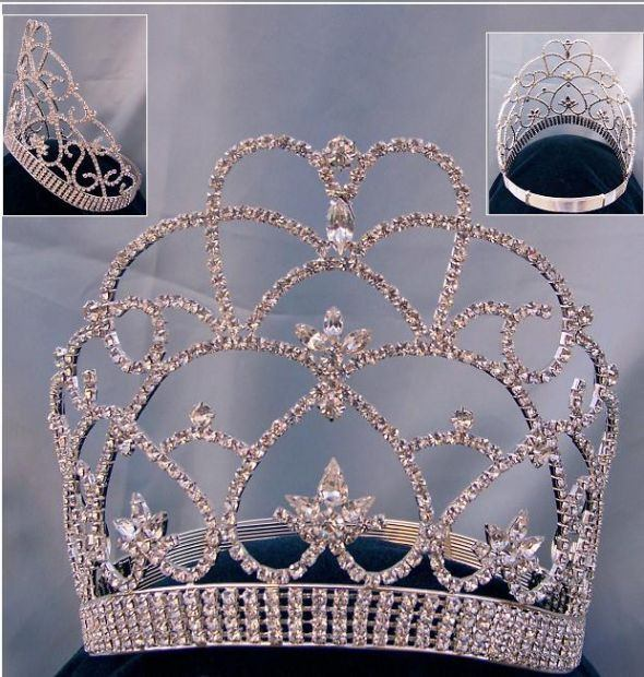 Beauty Pageant Queen, Princess rhinestone contoured crown tiara - CrownDesigners
