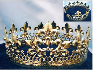 Majestic Queen King Full Gold Crown - CrownDesigners