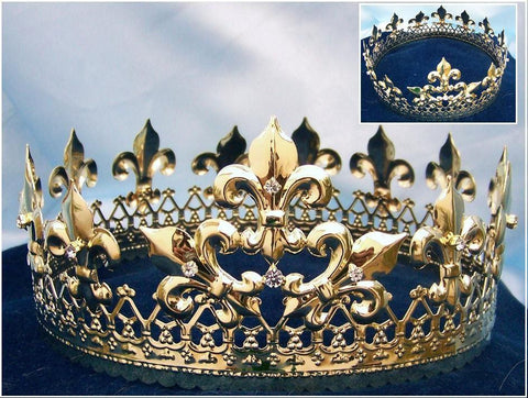 Majestic Queen King Full Gold Crown, CrownDesigners