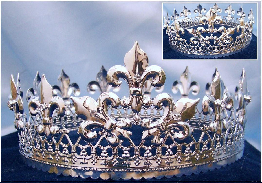 Magestic Queen King Silver Full Crown - CrownDesigners