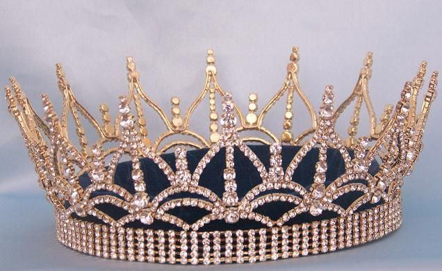 The Regency Full Rhinestone Unisex Queen King Gold Crown - CrownDesigners