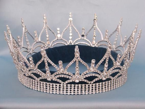 The Regency Full Rhinestone Unisex Queen King Silver Crown - CrownDesigners