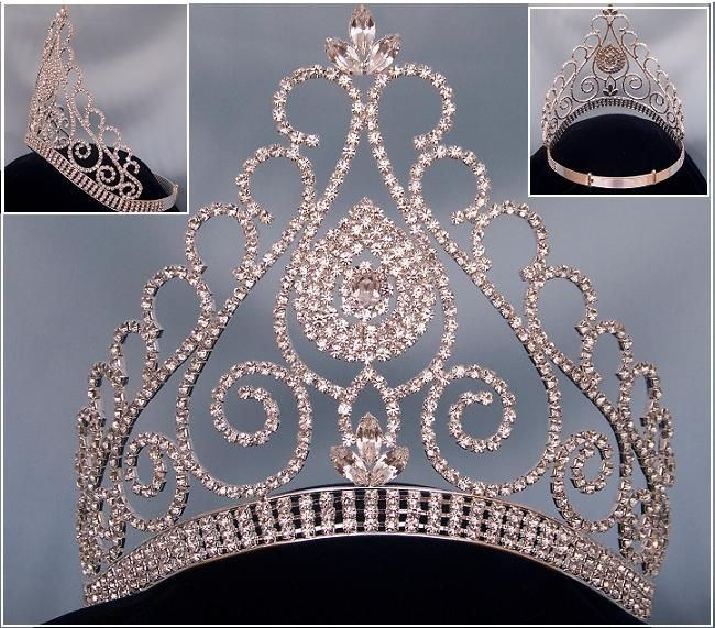 Beauty Queen Rhinestone Grand Queen Contoured Rhinestone Crown Tiara, CrownDesigners