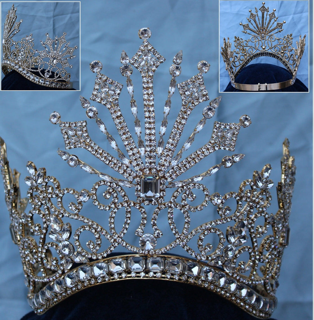 Beauty Pageant Rhinestone Queen Tsarina Alexandra Fedorovna Gold Romanov Contoured Crown, CrownDesigners