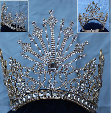 Beauty Pageant Rhinestone Queen Tsarina Alexandra Fedorovna Gold Romanov Contoured Crown - CrownDesigners