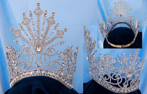 Beauty Pageant Rhinestone Queen Tsarina Alexandra Fedorovna Silver  Romanov Contoured Crown - CrownDesigners