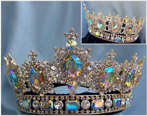 Men's Unisex Rhinestone Gold Full Clear Aurora Borealis Royal Premium Crown - CrownDesigners