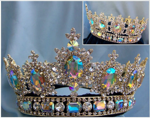 Men's Unisex Rhinestone Gold full Clear Aurora Borealis  Royal Premium Crown