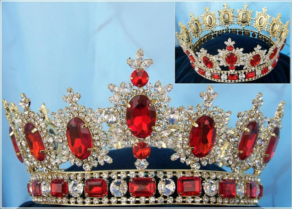 Men's Unisex Rhinestone Gold full Ruby Red Royal Premium Crown, CrownDesigners