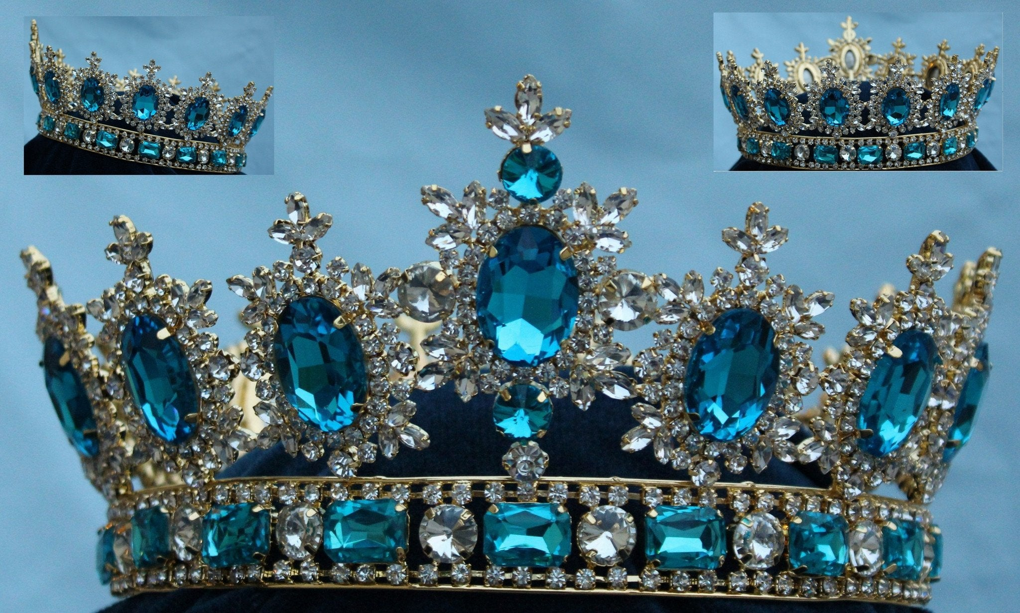 Men's unisex rhinestone Gold full Acquamarine Blue  Royal Premium  Crown - CrownDesigners