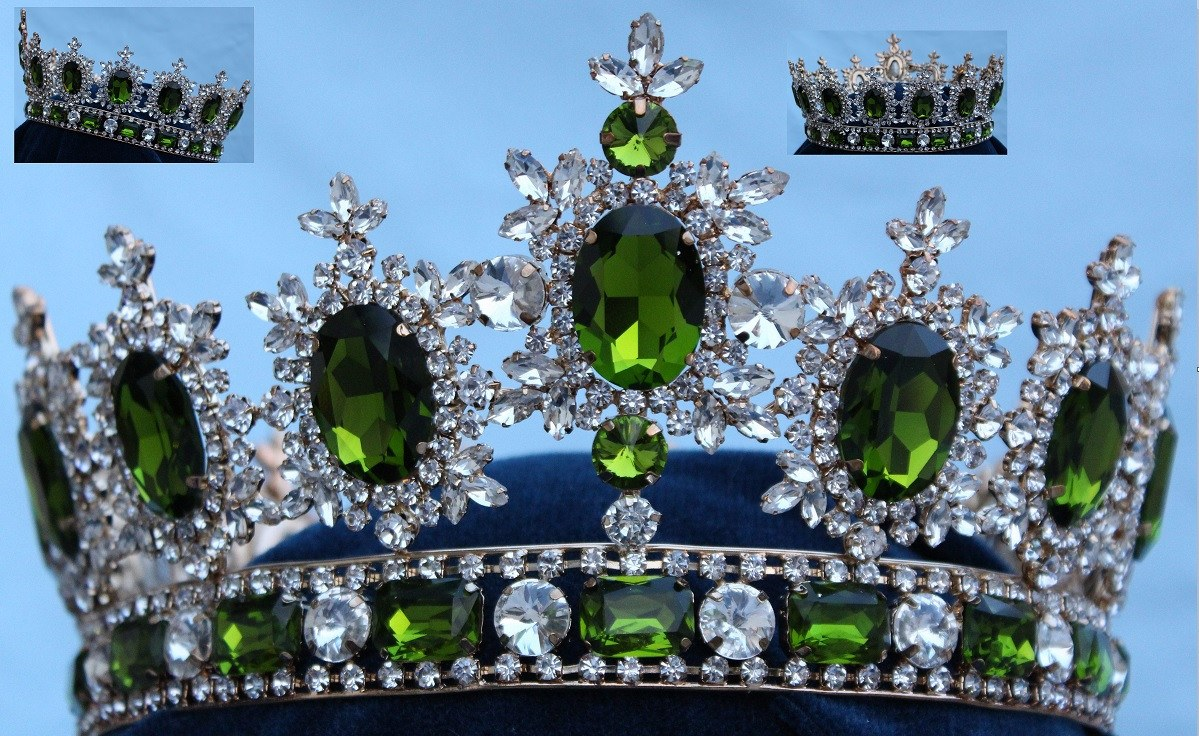 Men's unisex rhinestone Gold full Light Green Peridot Royal Premium  Crown - CrownDesigners