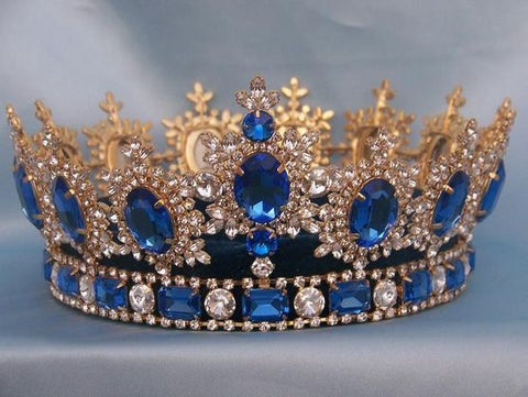 Men's Unisex Rhinestone Gold full  Royal Blue Sapphire Premium Crown, CrownDesigners