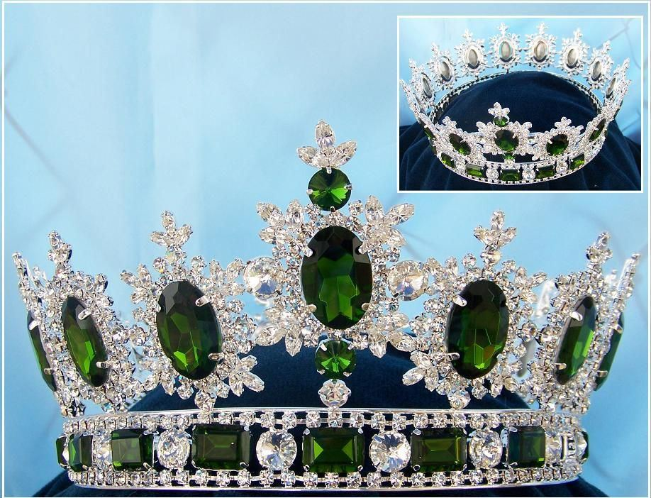Men's Unisex Rhinestone Silver Full Emerald Green Royal Premium Crown, CrownDesigners