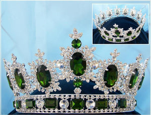 Men's Unisex Rhinestone Silver Full Emerald Green Royal Premium Crown - CrownDesigners