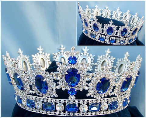 Men's Unisex Rhinestone Silver Full Blue Sapphire Royal Premium Crown, CrownDesigners