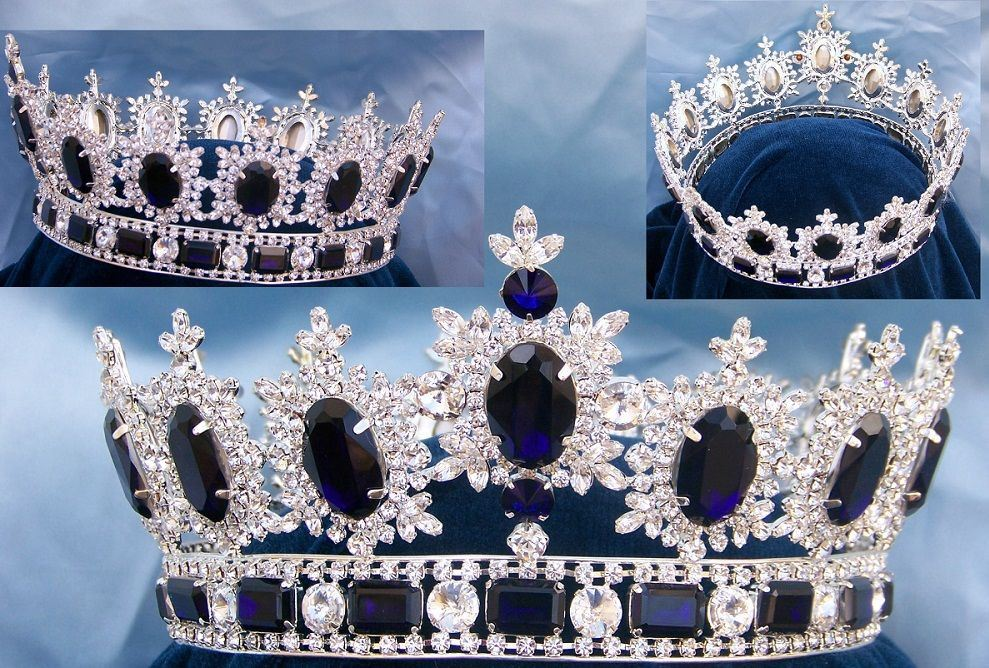 Men's Unisex Rhinestone Silver Full Mountain Dark Blue Royal Premium Crown - CrownDesigners
