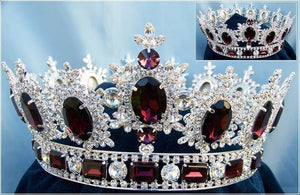 Men's Unisex Rhinestone Silver Full Amethyst Purple Royal Premium  Crown - CrownDesigners