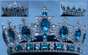 Men's Unisex Rhinestone Silver Full Light blue Acquamarine Royal Premium Crown - CrownDesigners