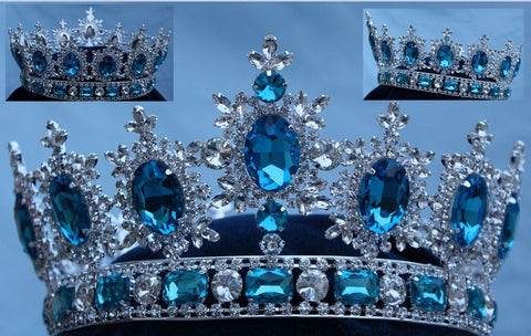 Men's Unisex Rhinestone Silver Full Light blue Acquamarine Royal Premium Crown, CrownDesigners