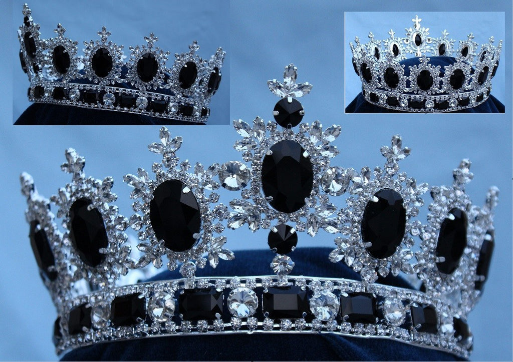 Men's Unisex Rhinestone Silver Full  Black  Royal Premium Crown, CrownDesigners