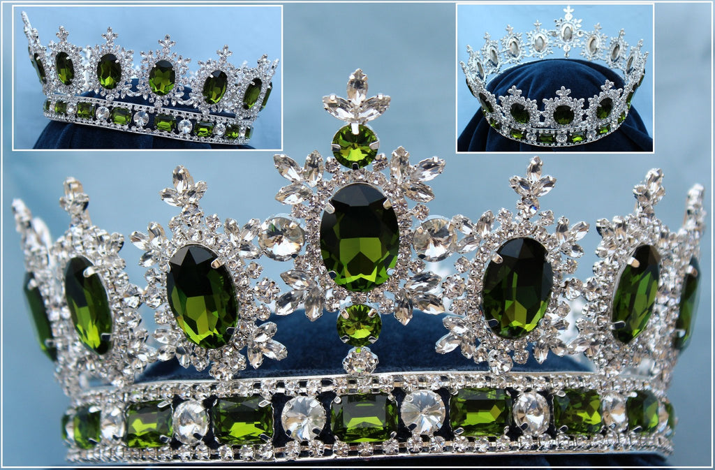 Men's Unisex Rhinestone Silver Full  Peridot Green Royal Premium Crown, CrownDesigners
