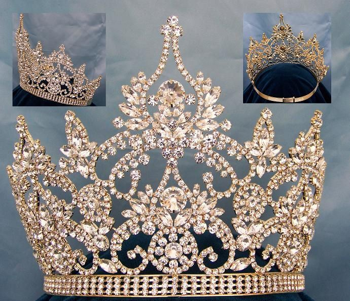 Continental Adjustable Gold Rhinestone Crown Tiara, CrownDesigners