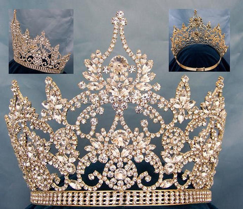 Continental Adjustable Gold Rhinestone Crown Tiara