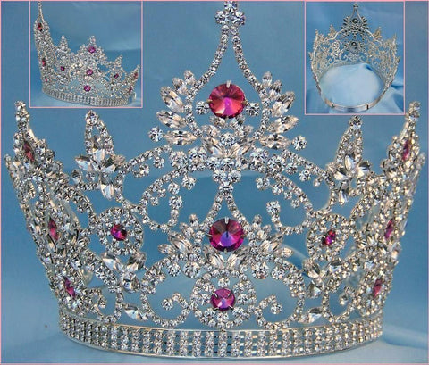 Continental Adjustable Amethyst Rhinestone Crown Tiara - CrownDesigners