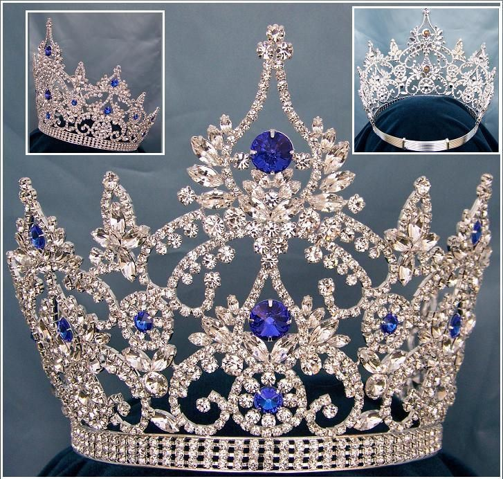 Continental Blue Silver Sapphire Crown Tiara, CrownDesigners