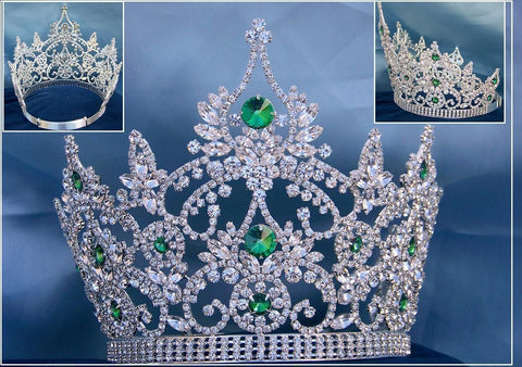 Continental adjustable Emerald Rhinestone Crown Tiara, CrownDesigners