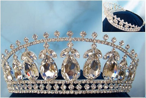 Beauty Pageant Queen Princess Bridal rhinestone crown tiara The Michelle Louise - CrownDesigners
