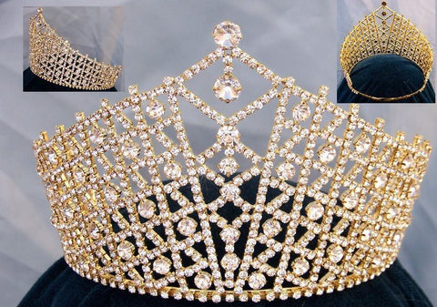 Miss Beauty Pageant Adjustable Gold  Rhinestone Crown Tiara - CrownDesigners