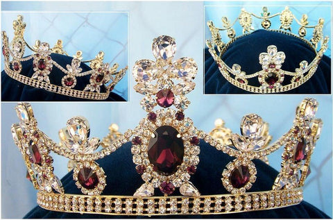 Crown/Royal Tsarina State Rhinestone Full Gold Queen, King Crown UNISEX, CrownDesigners