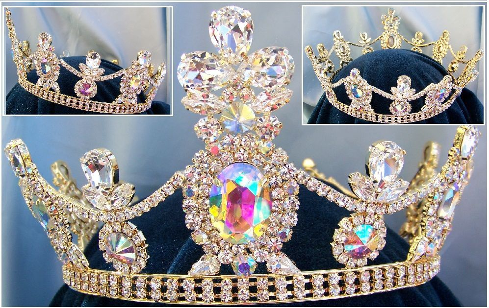 Crown/Royal Tsarina State Rhinestone Full Gold Queen, King Crown UNISEX Aurora Borealis - CrownDesigners