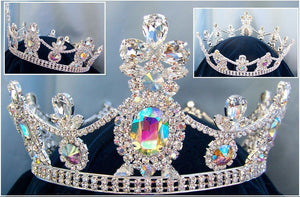 Crown/Royal Tsarina State Rhinestone Full Silver Queen, King Crown UNISEX Aurora Borealis - CrownDesigners