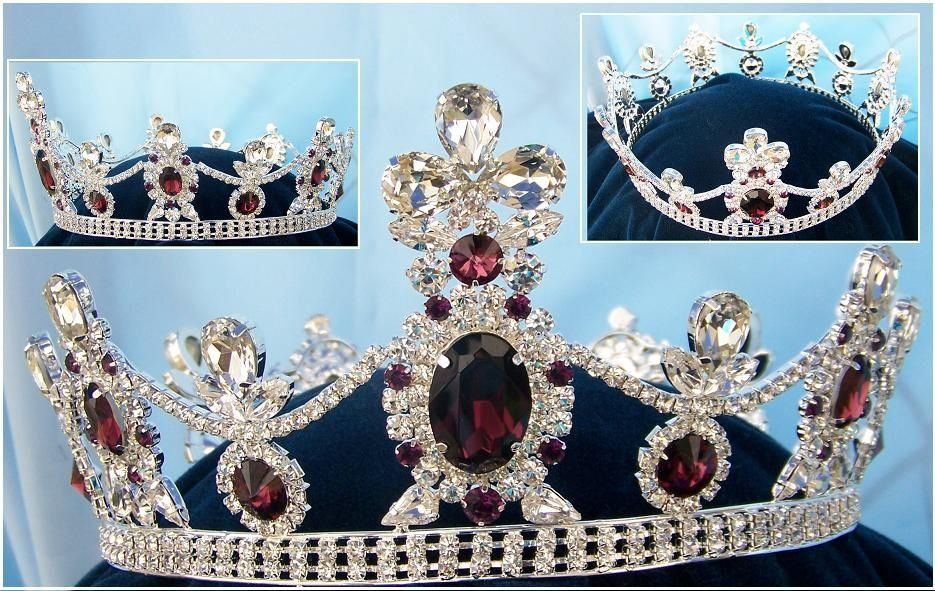 Crown/Royal Tsarina State Rhinestone Full Silver Queen, King Crown UNISEX, CrownDesigners