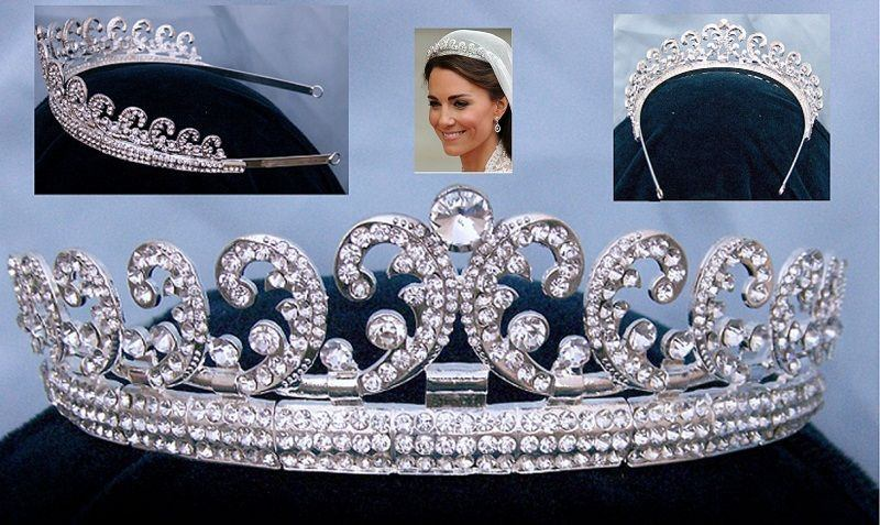 Royal Kate Middleton Inspired Crystal Diamante Silver Bridal Tiara Crown, CrownDesigners