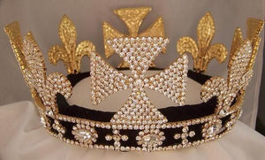 King Lear Rhinestone Full Gold  Mens Crown - CrownDesigners