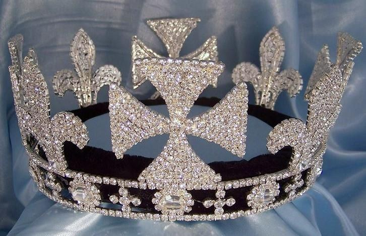 King Lear Rhinestone Full Silver Mens Crown, CrownDesigners
