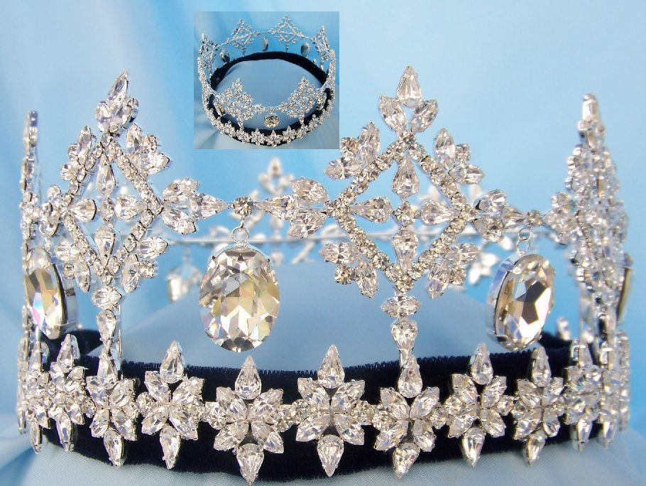 Global Beauty Queen Rhinestone Full Round Crown - CrownDesigners