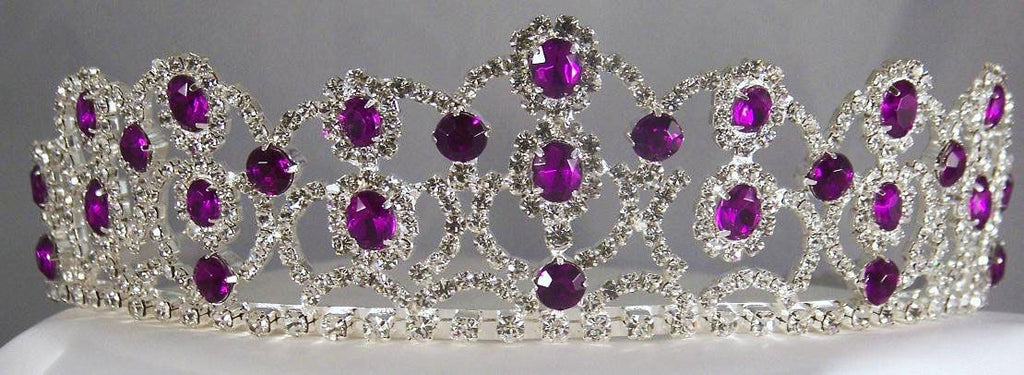 The Amethyst Royal Empress Rhinestone Beauty Pageant Crown Tiara, CrownDesigners