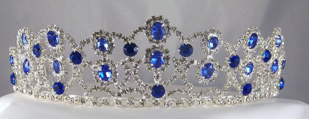 The Blue Sapphire Royal Empress Rhinestone Beauty Pageant Queen, Princess, Crown Tiara - CrownDesigners