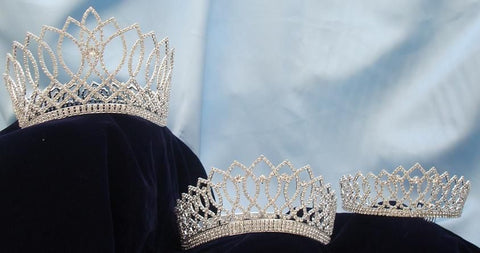 Beauty Pageant Rhinestone Silver 3 Pcs Combo, CrownDesigners