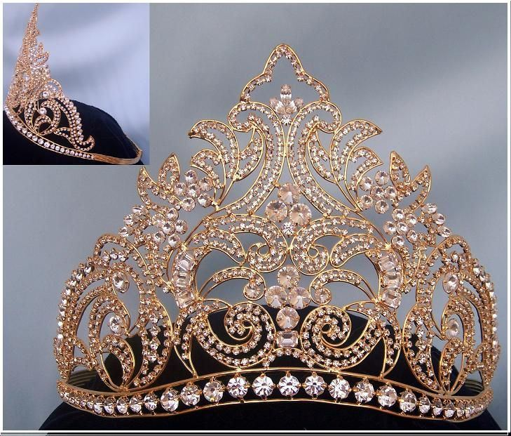 Danielle Beauty Pageant Rhinestone Gold  Contoured Adjustable Crown - CrownDesigners