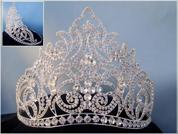 Danielle Beauty Pageant Rhinestone Silver Contoured Adjustable Crown - CrownDesigners