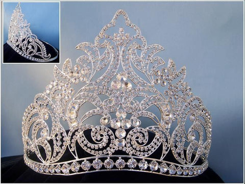 Danielle Beauty Pageant Rhinestone Silver Contoured Adjustable Crown, CrownDesigners